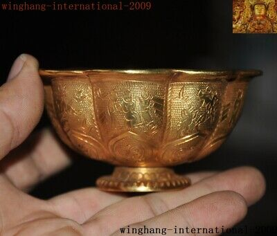 Old Chinese Dynasty Bronze 24k gold Gilt people beast flower Royal Tea cup bowl