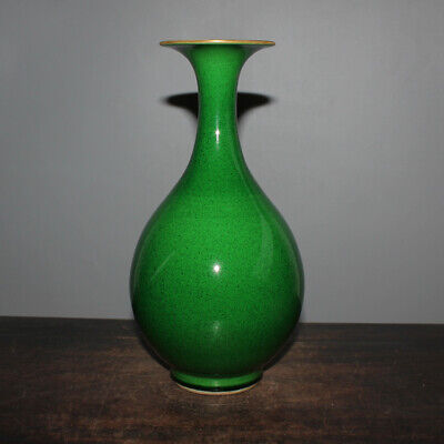 Chinese Old Marked Diamond Green Crackle Glaze Gilt Porcelain Vase
