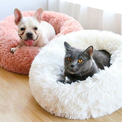 Comfortable Faux Fur Round Pet Bed Cushion Winter Warm Donut Cuddler Dog Bed