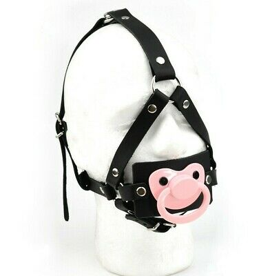 STRICT Unique Dummy Panel GAG head harness Black and Pink leather Ga18BlkPnk