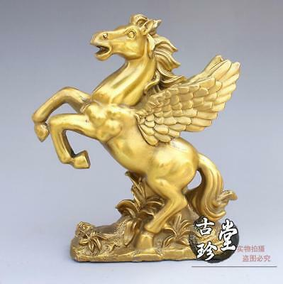 Chinese Fengshui Brass Copper Pegasus Fly Horse Wings Lucky Steed Animal Statue