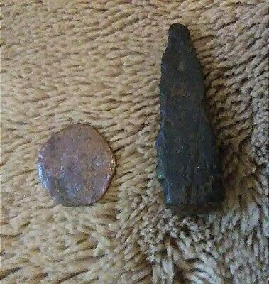 Ancient Rome Iron Arrowhead and Coin