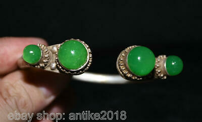 "2.8"" Old Chinese Copper inlay Green Jade Gem Belle Jewellery Bracelets Bangle"
