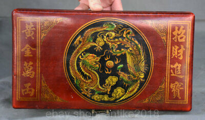 11.2 inch Old Chinese Red Lacquerware Palace Dragon Phoenix Abacus Abaci Box