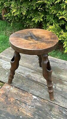 Beautiful Vintage Hand Made 3 Legged Wooden Foot Stool, Seat Table *