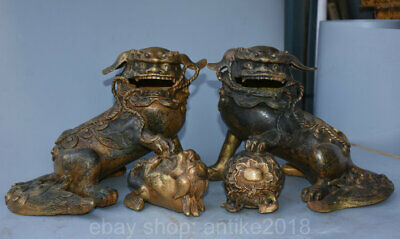 "12"" Old Chinese Copper Feng Shui Foo Dog Lion Son Ball Luck Sculpture Pair"
