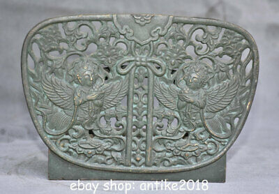 "6"" Japan Old antique Copper Flower Pattern Two Angels Folding Screen"