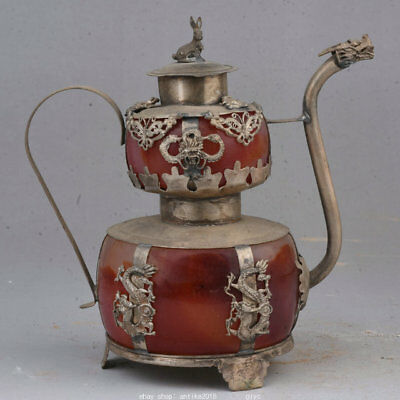 """5.2"""" Rare Old Chinese Silver Red Jade Dynasty Rabbit Portable Teapot Teakettle"""