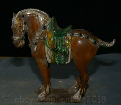 """8.8"""" Old China Yellow Tang sancai Pottery Porcelain Dynasty Stand Horse Statue"""