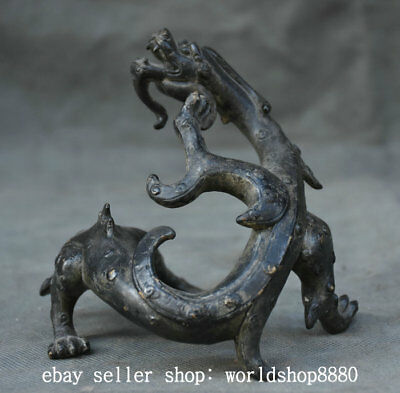 """4.8"""" Collect Old Chinese Bronze Dynasty Palace Dragon Beast Statue Sculpture"""