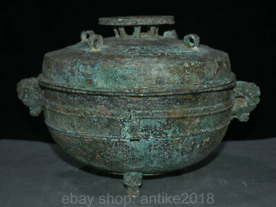 "14"" Old Chinese Old antique Bronze Beast Head Ware Wine Food lid Pot Jar Crock"