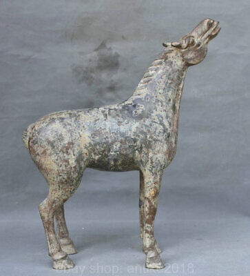 """16"""" Old Chinese Palace Bronze Ware Animal 12 Zodiac Year Horse Statue Sculpture"""