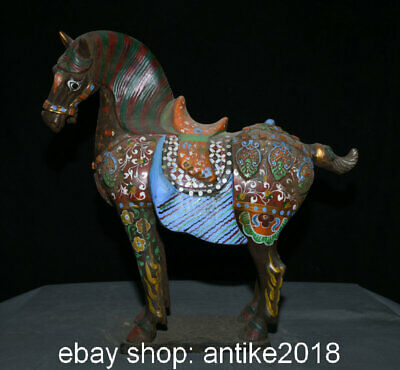 "16"" Old Chinese Tang Sancai Pottery Palace Tang Horse Steed Success Sculpture"