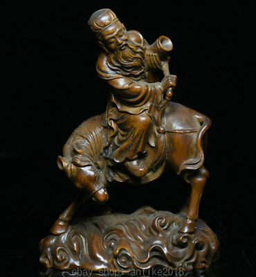 """5.6"""" Collect China Boxwood Wood Hand Carved Old Man Ride Horse Statue Sculpture"""