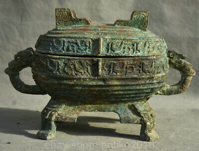 "14"" Chinese Old antique Bronze Ware Food Wine Beast Head Pot Jar Crock vessels"