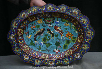 """16"""" Old Chinese cloisonne enamel Dynasty Lotus Fish Carp Vessel Tray Dish Plate"""