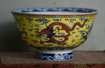 13CM Qianlong Marked Old China Color Porcelain Dynasty Dragon Loong Vessel Bowl