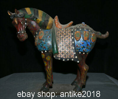 """16"""" Old Chinese Tang Sancai Ceramics Dynasty Stand Tang Horse Steed Statue"""