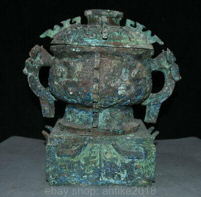 "13"" Chinese Old antique Bronze Ware Beast Head Handle Food Wine Pot Jar Crock"
