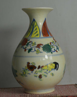17CM Chenghua Marked Old China Wucai Porcelain Dynasty Rooster Cock Bottle Vase