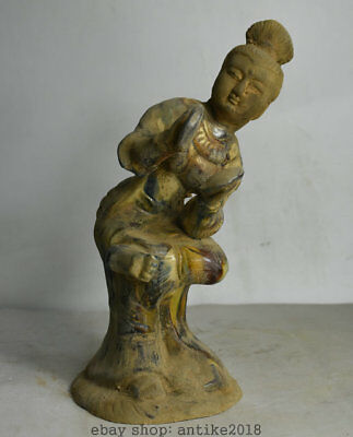 "10"" Old Chinese Tang Sancai Pottery Palace Music Beauty Belle Statue Sculpture W"
