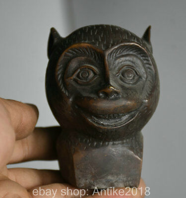 7CM Marked Old China Bronze Dynasty Zodiac Monkey Animal Head Bust Sculpture