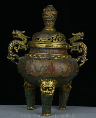 "12"" Qianlong Marked Chinese Old Bronze Cloisonne Dragon Lion incense burner"