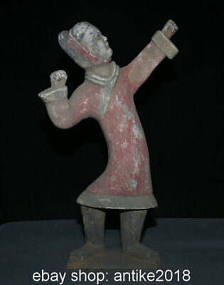 "17"" Old Chinese Tang Sancai Pottery Dynasty Palace Stand People Statue Sculpture"