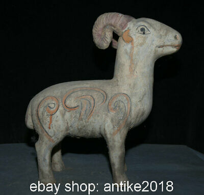 "14"" Old Chinese Tang Sancai Pottery Feng shui 12 Zodiac Year Sheep Sculpture"