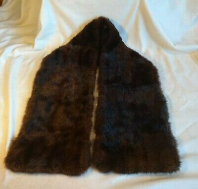 """Vintage Brown Fur Stole, silk lined, Mink/Beaver? good condition 52""""x9"""""""