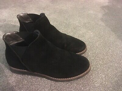 Girls Black Suede Ankle Boots, Size 5 M & S Kids