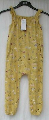 Girl's Marks And Spencer Yellow Patterned Cotton Jumpsuit Age 5 - 6 Years