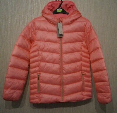 Girls TU SAINSBURYS Pink Shower Resistant Padded Hooded Jacket Coat Age 11-12 Yr