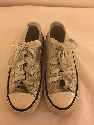 Girls Size UK 12 Converse All Star Trainers - Silver Glitter