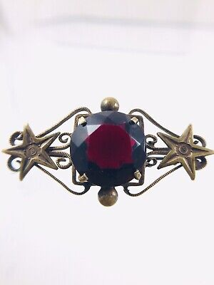 Antique Victorian Red Paste Glass Brass Star Brooch C clasp