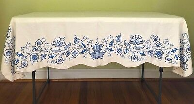 """VINTAGE RECTANGLE TABLECLOTH HAND EMBROIDERED BLUE ON BEIGE~SCALLOP HEM~48""""x68"""""""
