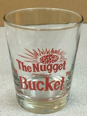 "THE NUGGET BUCKET Downtown Reno CASINO Drinking Glass  4 1/2"" tall"