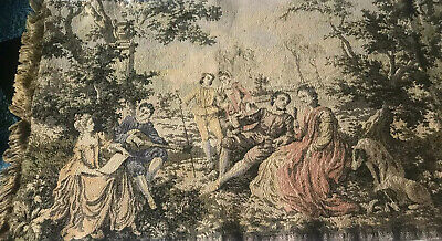 "Vintage Tapestry Runner Fringe Large 18 X 56"" Victorian Venice Courting Couple"