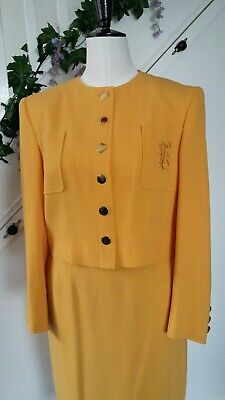 LOUIS FERAUD Vintage 80s 90s Yellow Virgin Wool Ladies Jacket and Skirt 14 UK