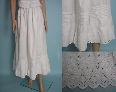 "Antique Edwardian Underskirt Skirt White Cotton with Embroidery 26"" - 36"" waist"