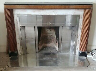 Superb Original 1920s 1930s Art Deco polished fireplace, mantlepiece, & hearth