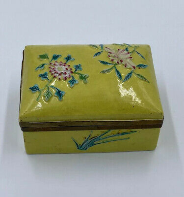 Antique Chinese Yellow Floral Relief Porcelain Brass Hinge Box Asian