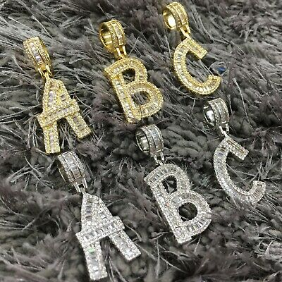 Baguette Initial Bubble Letter Pendant Necklace A-Z Gold Silver with Rope Chain
