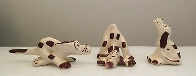 Lot of 3 vintage Chic Comical Ceramic Dogs Brown White Spotted Hounds Cute Funny