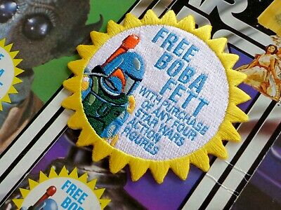 "Kenner STAR WARS ""FREE! Boba Fett"" Vintage style 3.5"" Iron-on embroidered patch"