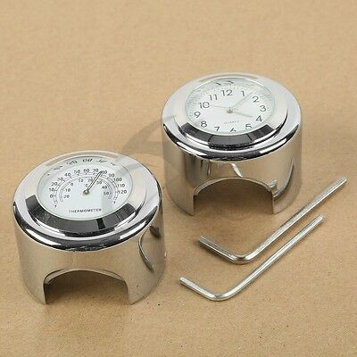 "1/"" 7//8/"" Chrome Thermometer For Honda VTX 1300 1800 TYPE C R S N F T RETRO"