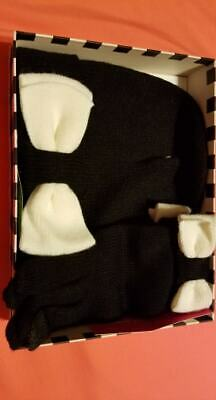 KATE SPADE NEW YORK Women's Colorblock Bow Black / Cream Gloves and Hat (NWT)