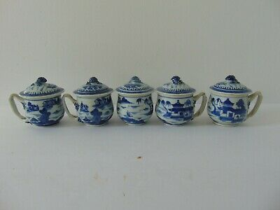 5 ANTIQUE HAND PAINTED CANTON CHINESE EXPORT PORCELAIN COVERED CUPS - 19th C.