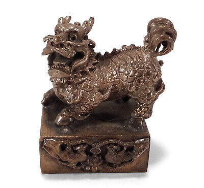 Chinese Characters Figural Sculptural Cast Metal Fu Foo Dog Seal Stamp China