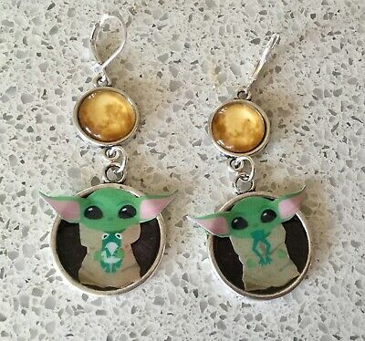 Star Wars Mandalorian Baby Yoda with Frog Dangle Leverback Earrings